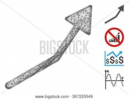 Mesh Positive Trend Arrow Web Icon Vector Illustration. Carcass Model Is Based On Positive Trend Arr