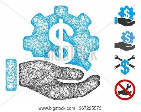 Mesh Payment Options Service Hand Web 2d Vector Illustration. Carcass Model Is Based On Payment Opti