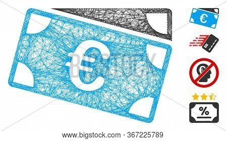 Mesh Euro Banknotes Web Icon Vector Illustration. Carcass Model Is Created From Euro Banknotes Flat