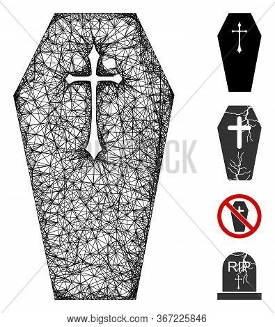 Mesh Christian Coffin Web Icon Vector Illustration. Model Is Based On Christian Coffin Flat Icon. Me