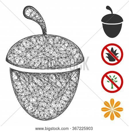 Mesh Acorn Web Icon Vector Illustration. Carcass Model Is Based On Acorn Flat Icon. Mesh Forms Abstr