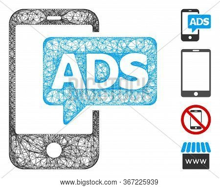 Mesh Mobile Ads Web Icon Vector Illustration. Model Is Based On Mobile Ads Flat Icon. Mesh Forms Abs