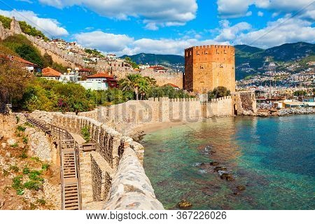 Kizil Kule Red Tower, Alanya Castle And Port Aerial Panoramic View In Alanya City, Antalya Province