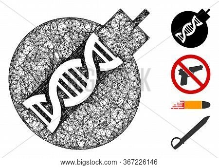 Mesh Genetic Weapon Web Icon Vector Illustration. Carcass Model Is Based On Genetic Weapon Flat Icon