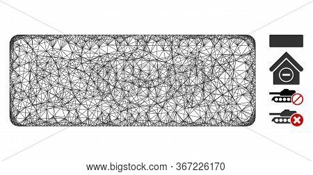 Mesh Minus Web Icon Vector Illustration. Carcass Model Is Based On Minus Flat Icon. Network Forms Ab