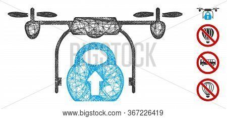 Mesh Load Cargo Drone Web Icon Vector Illustration. Model Is Based On Load Cargo Drone Flat Icon. Me