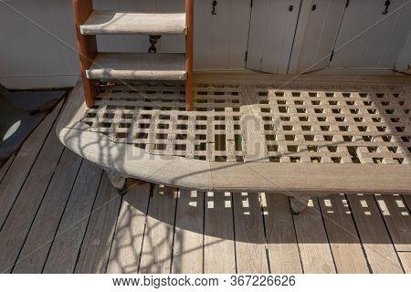 Teak Boat Decking And Drain Board, Ladder On Old Sailing Ship, Horizontal Aspect