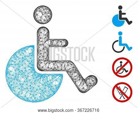 Mesh Wheelchair Web Icon Vector Illustration. Abstraction Is Based On Wheelchair Flat Icon. Network