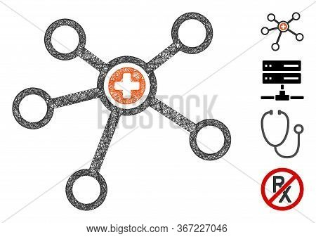 Mesh Health Care Links Web Icon Vector Illustration. Model Is Created From Health Care Links Flat Ic