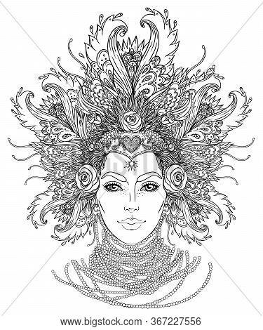 Tribal Fusion Boho Goddess. Beautiful Divine Diva Girl With Ornate Crown, Kokoshnik Inspired. Bohemi