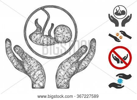 Mesh Embryo Care Hands Web 2d Vector Illustration. Carcass Model Is Based On Embryo Care Hands Flat