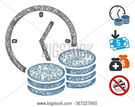 Mesh Credit Web 2d Vector Illustration. Carcass Model Is Based On Credit Flat Icon. Network Forms Ab