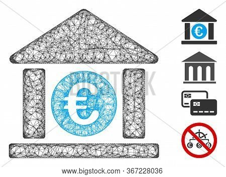 Mesh Euro Bank Building Web Symbol Vector Illustration. Carcass Model Is Based On Euro Bank Building