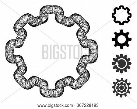 Mesh Cogwheel Web Icon Vector Illustration. Carcass Model Is Based On Cogwheel Flat Icon. Mesh Forms