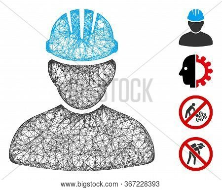 Mesh Worker Person Web Symbol Vector Illustration. Abstraction Is Based On Worker Person Flat Icon.