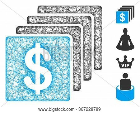 Mesh Finances Web Icon Vector Illustration. Model Is Based On Finances Flat Icon. Network Forms Abst