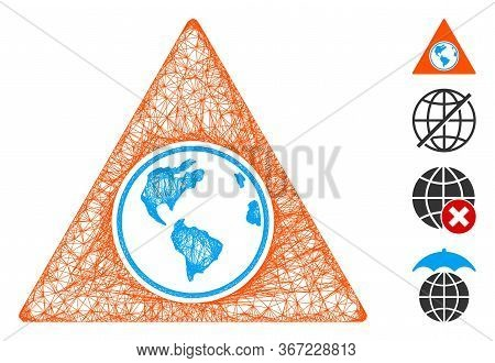 Mesh Terra Triangle Web Icon Vector Illustration. Abstraction Is Based On Terra Triangle Flat Icon.