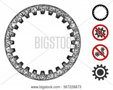 Mesh Annular Gear Web Symbol Vector Illustration. Carcass Model Is Based On Annular Gear Flat Icon.