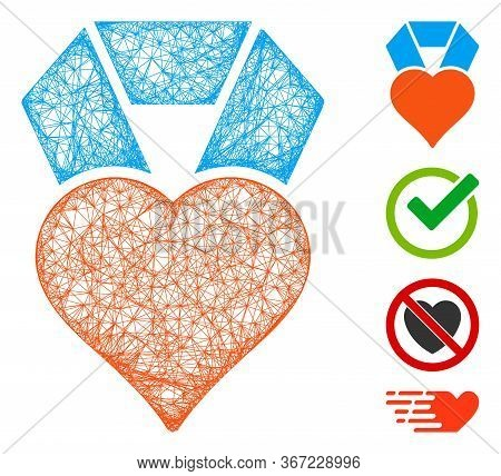 Mesh Favourite Web Icon Vector Illustration. Abstraction Is Based On Favourite Flat Icon. Network Fo