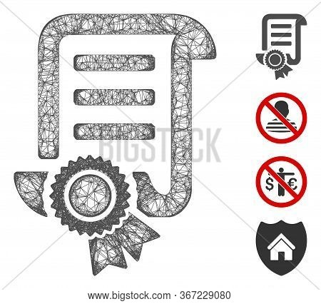 Mesh Patent Web Icon Vector Illustration. Abstraction Is Based On Patent Flat Icon. Mesh Forms Abstr