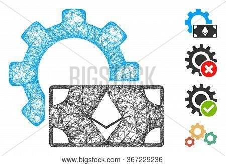 Mesh Ethereum Banknote Options Gear Web Icon Vector Illustration. Model Is Based On Ethereum Banknot