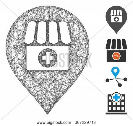 Mesh Drugstore Marker Web Icon Vector Illustration. Model Is Created From Drugstore Marker Flat Icon