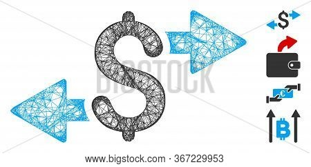 Mesh Spend Money Web Icon Vector Illustration. Model Is Created From Spend Money Flat Icon. Network