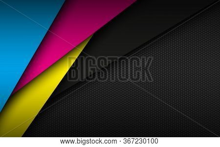 Black Modern Material Background With Hexagonal Mesh Pattern. Overlapped Sheets Of Paper In Cmyk Col