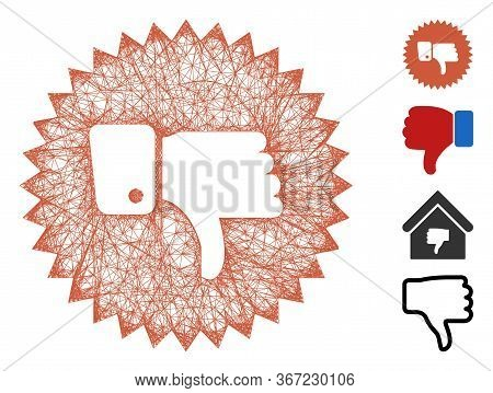 Mesh Negative Thumb Medal Web 2d Vector Illustration. Carcass Model Is Created From Negative Thumb M