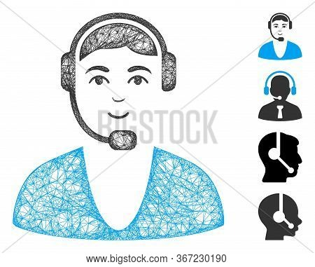 Mesh Call Center Guy Web Icon Vector Illustration. Carcass Model Is Based On Call Center Guy Flat Ic