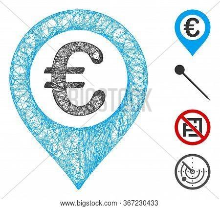 Mesh Euro Pushpin Web Icon Vector Illustration. Carcass Model Is Based On Euro Pushpin Flat Icon. Ne