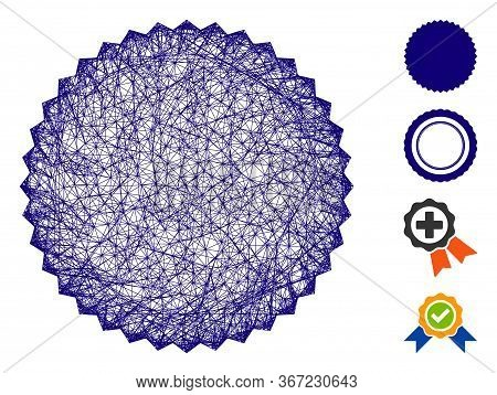 Mesh Filled Rosette Seal Web Icon Vector Illustration. Abstraction Is Based On Filled Rosette Seal F