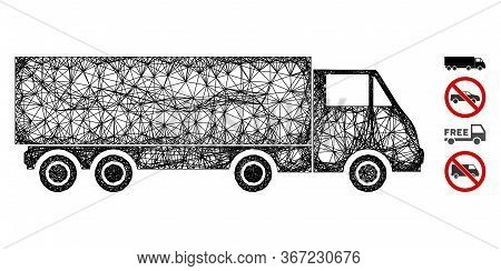 Mesh Wagon Web Icon Vector Illustration. Abstraction Is Based On Wagon Flat Icon. Mesh Forms Abstrac
