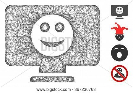 Mesh Display Smile Web Icon Vector Illustration. Model Is Based On Display Smile Flat Icon. Network