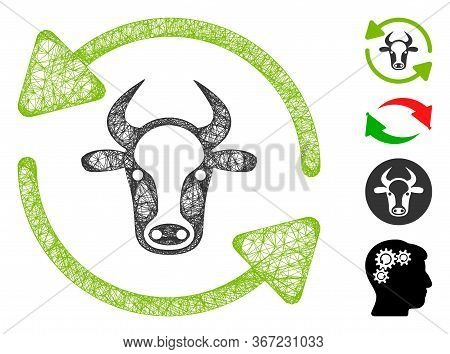 Mesh Refresh Cow Web Icon Vector Illustration. Carcass Model Is Created From Refresh Cow Flat Icon.