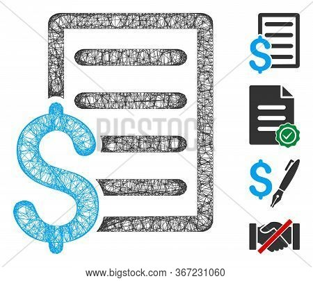 Mesh Business Contract Web Icon Vector Illustration. Abstraction Is Based On Business Contract Flat