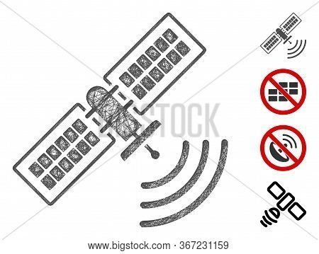 Mesh Navigation Satellite Web Icon Vector Illustration. Carcass Model Is Based On Navigation Satelli