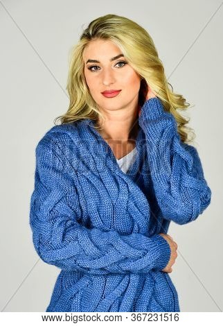 Soft And Comfy. Oversize Cardigan For Your Comfort. Fashionable Cardigan. Girl Long Curly Hair Styli