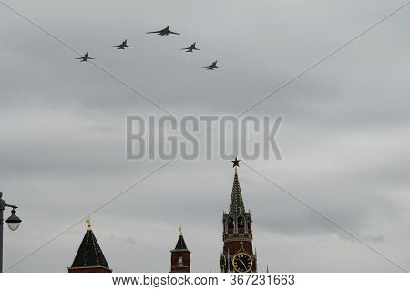 Moscow, Russia - May 9, 2020:the Group Of Strategic Missile Carriers Tu-22m3 With Variable Wing Geom