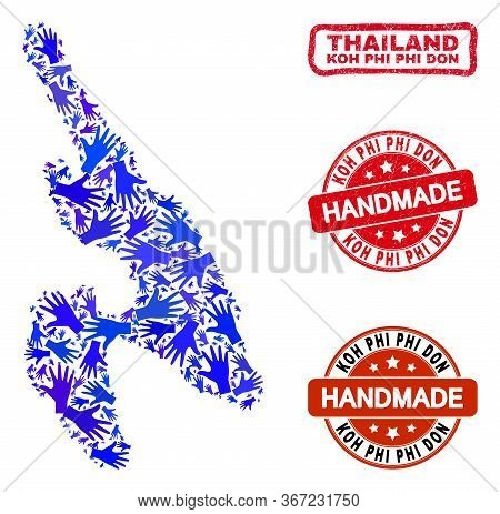 Vector Handmade Collage Of Koh Phi Don Map And Rubber Stamps. Mosaic Koh Phi Don Map Is Done Of Rand