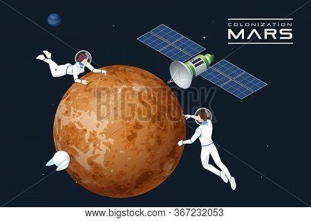 Isometric Astronauts In Orbit Of Mars And Satellite. Mars Colonization, Biological Terraforming, Par