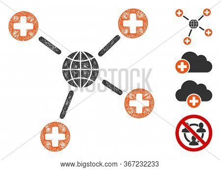 Mesh Global Medical Links Web Icon Vector Illustration. Carcass Model Is Based On Global Medical Lin