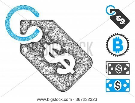 Mesh Price Tag Web Icon Vector Illustration. Model Is Created From Price Tag Flat Icon. Mesh Forms A