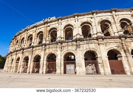 Nimes Arena Exterior View. Nimes Is A City In The Occitanie Region Of Southern France