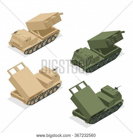 Isometric Multiple Rocket Launcher Icons Set Isolated On White. Multiple Launch Rocket System Is An