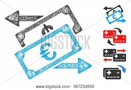 Mesh Euro Currency Exchange Web 2d Vector Illustration. Model Is Based On Euro Currency Exchange Fla