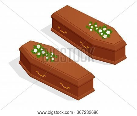 Isometric Broun Closed Classical Expensive Coffin Isolated On White. Coffin Halloween Vampire
