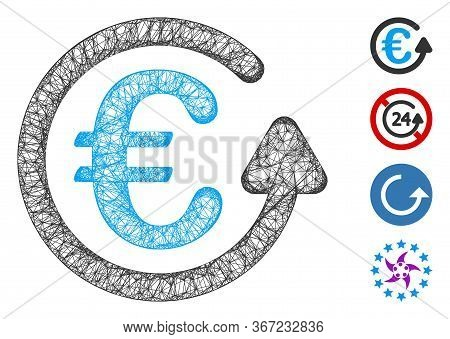 Mesh Euro Chargeback Web Icon Vector Illustration. Carcass Model Is Based On Euro Chargeback Flat Ic