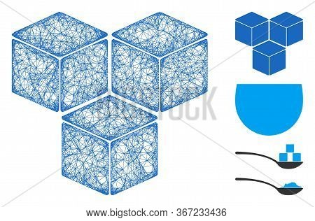 Mesh Sugar Cubes Web Icon Vector Illustration. Carcass Model Is Based On Sugar Cubes Flat Icon. Netw