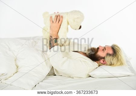 Hello. Bearded Man Hipster Play With Bear. Toys For Adult. Feeling Happy And Childlike. Psychologica